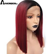 <b>Anogol Futura Fiber</b> Straight Bob Red Ombre <b>Black</b> Brown Blonde ...