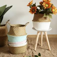 <b>Handmade</b> Color Dipped <b>Seagrass Basket</b>