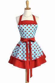 Womens Ruffled Retro Kitchen Apron in Turquoise <b>Red Polka Dot</b> ...