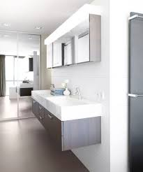 design basin bathroom sink vanities:  modern bathroom with floating double sink design in white and gray