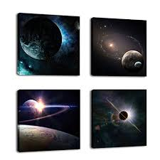 Cufun Art -Outer Space Planet <b>Painting Canvas Prints</b> Wall ...