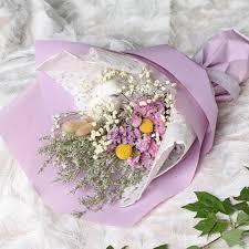 Valentine's Day rose wood cotton dry <b>flower</b> bouquet <b>Korean</b> small ...