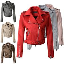 <b>2021 New</b> Autumn Winter Women Motorcycle Faux <b>PU Leather</b> Red ...