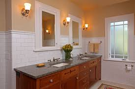 white mirrored bathroom wall cabinets: wooden vanity and white mirrored bathroom wall cabinets on white and brown wall inside the craftsman
