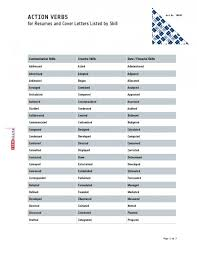 list of action verbs for resume   best template collectionresume adjectives list