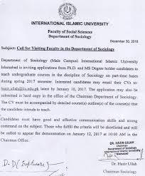 university jobs international islamic university ing faculty male department of sociology