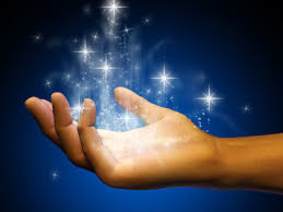 Hand with magical starlight lifting off it.