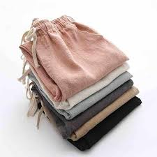 Pantalon Femme Cotton And Linen Trousers <b>Women Summer Lace</b> ...