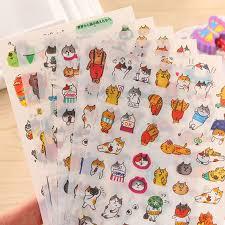 <b>6 pcs</b>/<b>lot Cute</b> Kawaii PVC Stickers Cartoon <b>Cat</b> Sticky Paper For ...