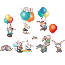 <b>Cartoon Animals</b> Wall Stickers DIY Kids Mural Decals Wardrobe ...