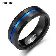 <b>TIGRADE 8mm Men</b> Black Tungsten Carbide <b>Ring</b> Thin Blue Line ...