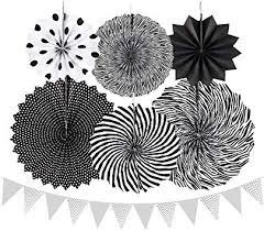 RFWIN Black Paper Fans Party Decoration Set of 6 ... - Amazon.com