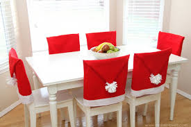 Red Dining Room Chair Covers Dining Room Slip Covered Dining Chairs Cute Red White Santa Hat