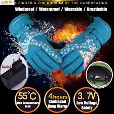 2000MAH Winter Ski Gloves <b>Smart Electric Heating</b> Gloves Battery ...