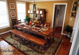 Dining Room Table With Benches Diy Farm Table Pine Farm Table And Bench Diy Farm Table Knotty