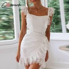 Conmoto <b>White</b> Lace Backless Summer Dress <b>2019 Women</b> Sexy ...