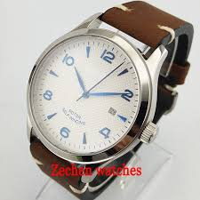 42mm <b>corgeut white dial</b> blue mark sapphire glass brushed silver ...