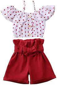 Toddler <b>Girls</b> Off Shoulder Outfits Set Stripes Tops + <b>Short Pants</b>
