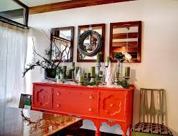 electric dining room red high gloss chair  orange lacquered wood sideboard square wood wall mirror green candle