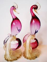 Antique hand <b>blown</b> Murano glass pink birds (With images) | Stained ...