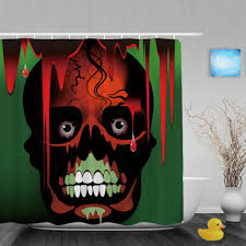 Skull Bathroom Decor Halloween Shower Curtain Promotion Shop For Promotional Halloween
