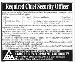 chief security officer jobs in lda lahore