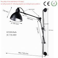 Nordic Classic <b>adjustable modern</b> industrial <b>Long swing</b> arm black ...