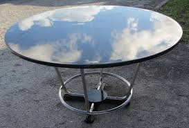 oval dining table art deco: american art deco round black lacquer and chromed steel dining