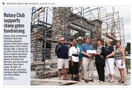home page rotary club of tavistock rotary donates to stone gates restoration