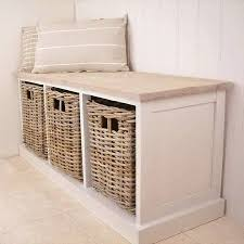 white storage unit wicker: new antique white  basket storage unit bench seat tbs home bench seat and mud rooms