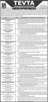 jobs in punjab technical education vocational training authority tevta jobs