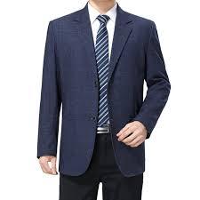 2019 <b>WAEOLSA Mature Man</b> Blazer Blue Horizontal Line Grain Suit ...