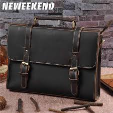 New Mens Genuine <b>Leather</b> Briefcase Document Holder Vintage ...