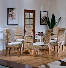 Round Back Dining Room Chairs Decorating Round Back Seagrass Dining Chairs With White Cushion