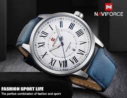 <b>Naviforce Top</b> Luxury <b>Brand Men</b> Leather Strap Sports Watches ...