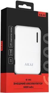 Портативное <b>зарядное устройство Akai BE-5002</b> 6000mAh White ...