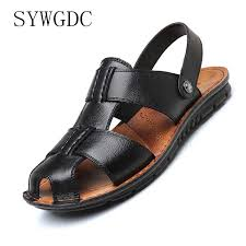 <b>SYWGDC Genuine Leather Men</b> Summer Sandals Breathable ...