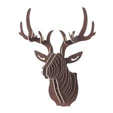 Urijk 3D Wooden DIY Animal <b>Deer Head Art</b> Model Home Office ...