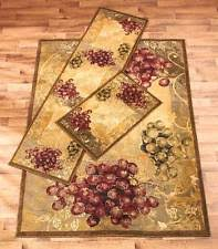 grapes grape themed kitchen rug: vineyard accent area runner rug rustic rustic grape vine tuscan theme decor art