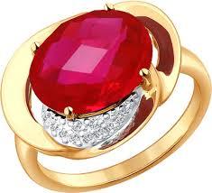 Золотое <b>кольцо SOKOLOV 714333_s</b> с корундом, фианитами ...