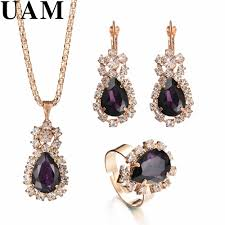 <b>Fashion</b> Wedding Gift <b>Jewelry Gold Color</b> Water Drop Shape Crystal ...