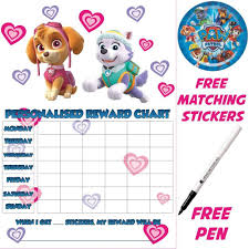 magnetic reward chart toys games reusable potty training reward chart paw patrol skye stickers pen magnetic