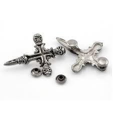 <b>20Sets</b> Antique <b>Silver Tone</b> Punk Cross Skull Skeleton Studs Spots ...