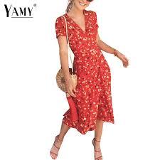 Summer flower Cherry <b>print chiffon dress women</b> retro v neck puff ...