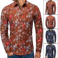 Spring and autumn men's Lapel slim thin print casual Long ... - Vova
