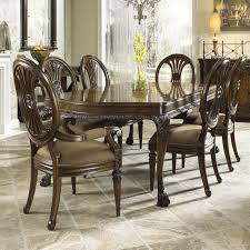 seven piece dining set: traditional seven piece dining set with round backed chairs