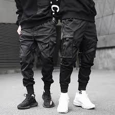 <b>Men</b> Ribbons Color Block Black Pocket <b>Cargo Pants</b> 2019 Harem ...