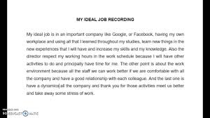 my ideal job my ideal job