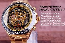 Winner Mechanical Sport Design Bezel Golden <b>Watch Mens</b> ...