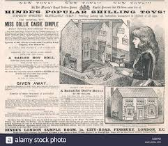 victorian advertisement stock photos victorian advertisement hinde s popular shilling toys advertisement for a victorian doll s house date 1881